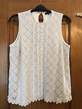 NEW LOOK White Crochet Lined Sleeveless Top - GREAT VALUE - Plus Size 22 -Summer