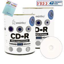 200 Smartbuy White Inkjet Printable 52X CD-R 700MB Disc + FREE Micro Fiber Cloth