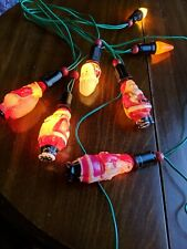 Vintage Santa Claus Tree Light Bulb Works Antique Glass lot of 5