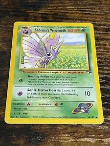 Sabrina's Venomoth 34/132 Rare Non Holo Pokemon Card. Gym Heroes. Near Mint.