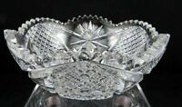 "AMERICAN BRILLIANT CUT CRYSTAL ABP HOBSTAR SUNBURST DIAMOND PANEL 8 1/8"" BOWL"