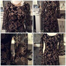 Monsoon Black & Gold Semi Flare Lace Dress Size 8 Pristine Away 24.2-3.3