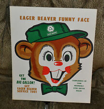 1960s Advertising Cities Service Oil NOS Eager Beaver Funny Face Halloween Mask