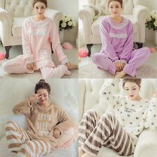 Damen Schlafanzug Pyjama Set Hausanzug Nachthemd Nachtwäsche Flanell 2Tlg/Set HS