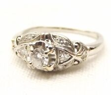 Platinum Engagement Ring Sz 5.75 Diamond .2 Carat Center .3 tcw Bridal Lovely