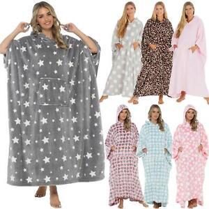 Oversized Hooded Blanket Ultra Soft Fleece Long Hoodie Lounge Poncho Kaftan