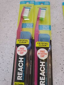 2 Reach Toothbrush Crystal Clean FIRM Bristles Hard. Pink, Orange, and Red.