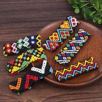 Women Boho Printing Patterned Beads Bracelet Elastic Wristband Handmade Bangle