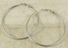 Silver Hoop Earrings Polish Snap Hinge Closure 2 in. Stainless Steel