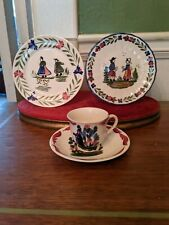 Blue Ridge French Peasant cup and saucer plus two two bread plates