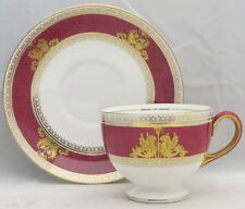 Wedgwood Columbia Powder Ruby (Rim and Center) Footed Cup & Saucer Set