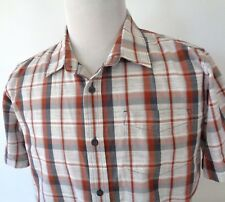Prana Large Shirt Short Sleeve Button Up Plaid Multi Color Lightweight Cotton