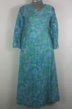 womens XL? turquoise dress with crochet lace sleeves long 100% cotton Oriental
