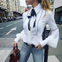 White Blue Ribbon Con Portrait People Blouse S M US 0 2 4 6 Free Self Delivery
