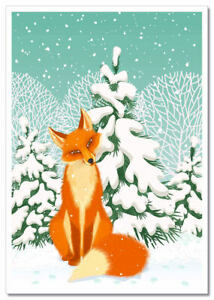 Funny animals Red FOX in winter forest Russian modern Postcard