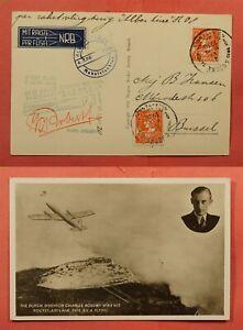1936 BELGIUM ROCKET MAIL CARD DIFF CARD EZ# 8C2 * EX AL BARNES