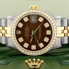 Rolex Datejust 2-Tone Gold/Steel 31mm Womens Watch w/Brown Dial & Diamond Bezel