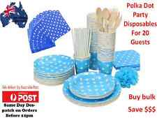 Party Supplies Bulk Blue Polka Dot Pack Table cover,Plates,Glasses & Napkins