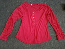 Red Lace armed Top Sz 12 NEW