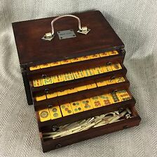 Antique Mahjong Set Butterscotch Bakelite Tiles Wooden Box Case Chinese Mah Jong