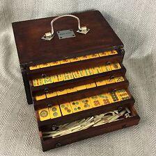 Antiguo Juego De Mahjong mosaicos de Baquelita Caramelo Caja De Madera caso chino Mah Jong