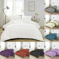 100% POLY COTTON 200TC DUVET COVER QUILT WITH PILLOWCASES DOUBLE SUPER KING SIZE