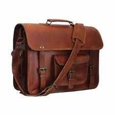 Vintage Art Messenger Shoulder Briefcase Laptop Bag Leather Men's Genuine Brown
