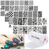 6Stk Born Pretty Nagel Kunst Stamping Platte Schablone & Jelly Klar Stempel DIY