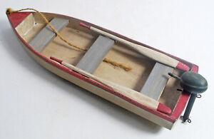 "Vintage Handmade Wood Model Fishing Canoe Kayak Row Motor Boat 10"""