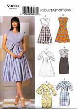 VOGUE OPTIONS MISSES EASY MOCK WRAP TIE FRONT DRESS SEWING PATTERN V9293 SZ 6-22