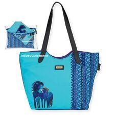 Laurel Burch Indigo Horses Teal Mares LARGE Scoop Shoulder Tote + Makeup Bag Set