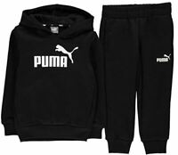 Puma Essential Logo Kids Hooded Jogger Sports Sweat Suit Tracksuit Black