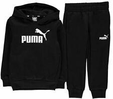 Puma Essential Logo Kids Hooded Jogger Sports Sweat Suit Tracksuit Black