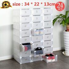 24x Clear Plastic Shoe Storage Boxes Drawer Stackable Foldable Durable Organiser