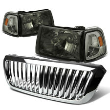 FOR 04-05 FORD RANGER SMOKED HEADLIGHT+AMBER CORNER LIGHT+CHROME GRILLE COVER