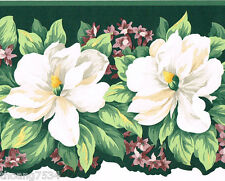 Victorian Green White Magnolia Flower Floral Die Cut Sculptured Wallpaper Border