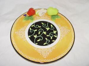 "Pear Strawberry & Apple 3D Ceramic Decor  Fruit PLATE 8"" BELLA CASA GANZ ~NEW~"
