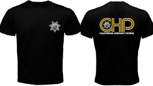 New California Highway PATROL CHP CHiPs Police Department Black T Shirt