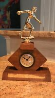 Vintage Bowling Trophy with Mechanical Clock