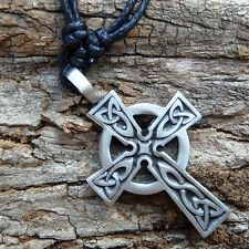 Irish Wales Celtec Cross Crucifix Rood  Pewter Pendant With Cotton Necklace #409