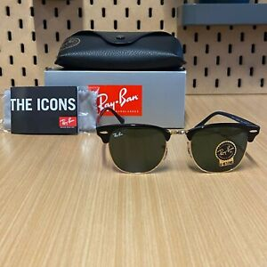 RAY BAN Sunglasses CLUBMASTER RB3016  BLACK Frame / Green Lens