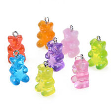 10pc Lovely 3D Clear Acrylic Cartoon Bear Charm Pendant Multicolor DIY Earrings