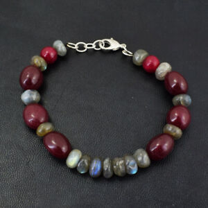 162.00 Cts Earth Mined 6 Inches Long Ruby & Labradorite Beads Bracelet JK 42E272