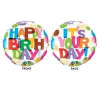 45.7cm Festone Happy Birthday Palloncino - Bianco & Multicolore{231918} (Elio /