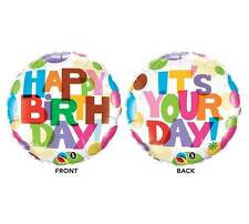 """18"""" Joyeux Anniversaire Ballons Métalliques Blanc & Multicolore {231918} Hélium/"""