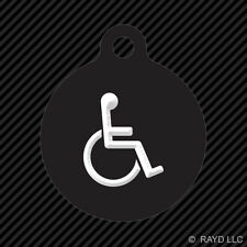Handicap Keychain Round with Tab dog engraved many colors Disabled Assisted