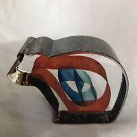 Signed Numbered Bertil Vallien Kosta Boda Glass Art Ribbon Bear Paperweight