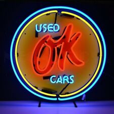 """Vintage Chevrolet Chevy OK Used Cars Neon Sign 25""""x25"""""""