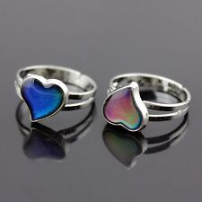 Feeling Mood Ring Changing Color Temperature Heart Shaped Rings Adjustable