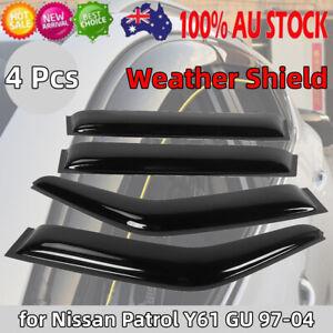 4PCS Premium Weathershields Weather Shields for Nissan Patrol Y61 GU 1997-2004